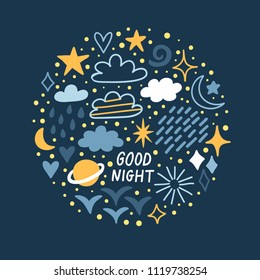 """Vector night background with moon, stars, clouds, planet and text """"Good night"""". Cute hand drawing poster with cosmic elements."""