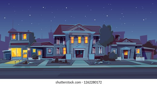 Vector night background with rental of house, estate. Cartoon illustration of cottage rent, sell. Facade of a private building with an empty plate. Exterior with urban construction, sidewalk and road