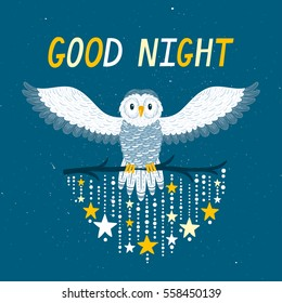 """Vector night background with snowy owl, stars and text """"Good night"""". Cute poster for children's room. Fairytale background with cartoon character."""