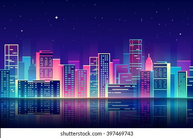 Vector night city illustration with neon glow and vivid colors.
