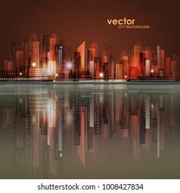 Vector night city skyline with neon glow