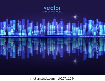 Vector night city skyline with neon glow