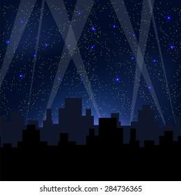 Vector Night City. Starry Night Blue Sky. Sity Skyscrepers