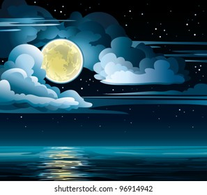 Vector night cloudy sky with stars, yellow moon and calm sea