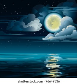 Vector night cloudy sky with yellow moon, stars and calm sea