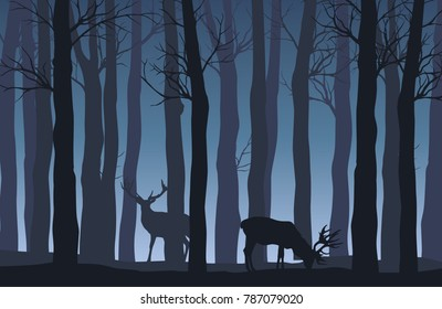 Vector night forest landscape with two deer in blue tones