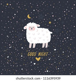 """Vector night illustration with cute lamb and text """"Good night"""". Dark background with cartoon sheep, moon, stars and hearts. Childish poster. Kids room decoration."""