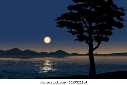 Vector night illustration with silhouette of tree, lake and moon