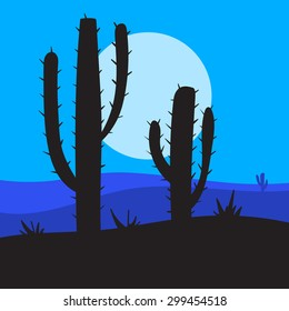 vector night landscape with cactus and desert