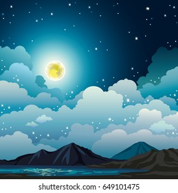 Vector night landscape with cloudy sky, stars, yellow full moon, mountains and calm lake. Summer natural illustration.