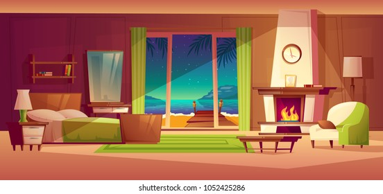 Vector night panorama of villa interior, window with seaside. Light from fireplace. Bedroom of tropical hotel, resort, tourism concept. Luxury house with wooden shelf