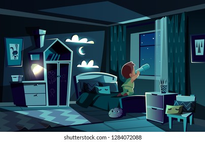 Vector night room with little boy watching stars by spyglass, telescope. Bedroom in the moonlight, children place with wardrobe, nightlight and clouds on walls. Infant observes the sky. Cozy interior.