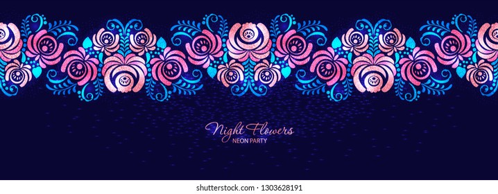 Vector night roses neon magenta floral seamless banner. Graphic flowers background. Header Silhouette gzhel blossom roses and leaves on a dark blue backdrop in russian ornament style