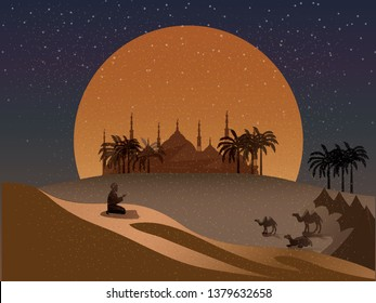 Vector night scene of Oasis in Arabian desert.cartoon vector of mosque,dust,sand,desert,camels and prayer prays to god in Ramadan Celebration month.Landscape of Muslim cultural tradition and Bedouin.