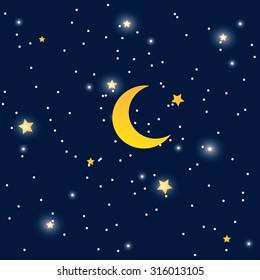 Vector night sky background stars and moon.