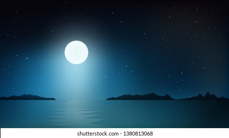 Vector night sky clouds. Moonlight. Moon over the sea. Background design. Vector illustration.