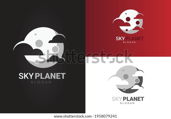 vector night sky clouds silver moon logo design template. Monographic logo premium minimal creative modern logo design concept