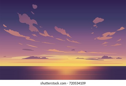 Vector night sky clouds. Sunset. Clean style. Background design