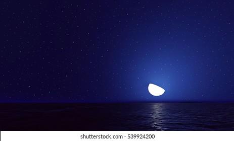 Vector night sky with ocean, moon stars background