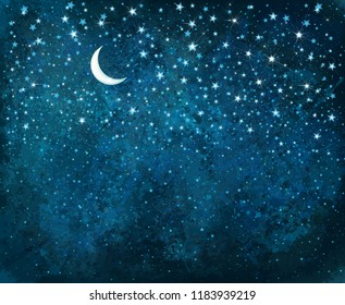 Vector night starry sky, sparkling stars and moon background.