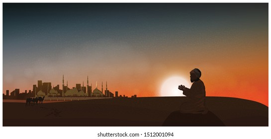 Vector night or twilight scene of Arabian desert.Vector of mosque,dust,sand,desert,camels a prayer prays to god in Ramadan Celebration month.Landscape of Muslim cultural tradition and Bedouin.