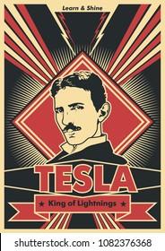 Vector Nikola Tesla Portrait Obey Poster Stylization
