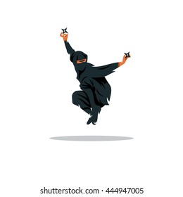 Vector Ninja Cartoon Illustration. Asia Assasin fighter. Warrior in black dress with shuriken in a jump. Unusual Logo template isolated on a white background