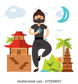 Vector Ninja Girl. Flat style colorful Cartoon illustration.