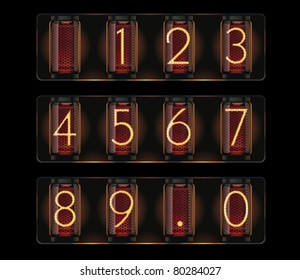 Vector nixie tube digits font