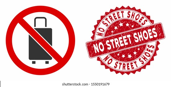 Vector no baggage icon and grunge round stamp seal with No Street Shoes text. Flat no baggage icon is isolated on a white background. No Street Shoes stamp seal uses red color and distress design.