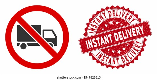Vector no cargo delivery icon and rubber round stamp watermark with Instant Delivery caption. Flat no cargo delivery icon is isolated on a white background.