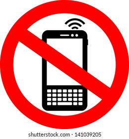 Vector no cell phone sign