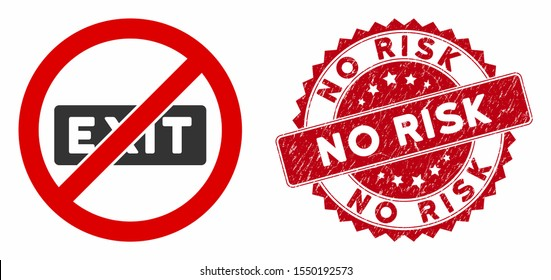 Vector no evacuation icon and corroded round stamp seal with No Risk text. Flat no evacuation icon is isolated on a white background. No Risk stamp seal uses red color and dirty design.