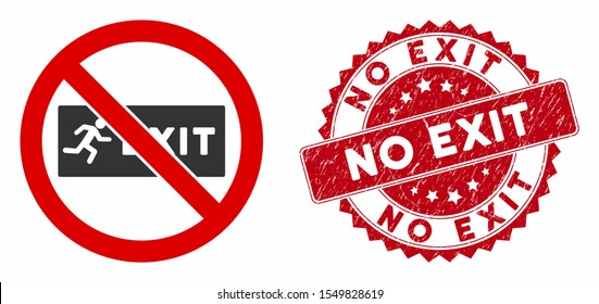 Vector no exit icon and distressed round stamp seal with No Exit caption. Flat no exit icon is isolated on a white background. No Exit stamp seal uses red color and grunged design.
