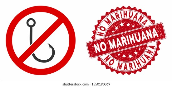Vector no fishing hook icon and grunge round stamp seal with No Marihuana caption. Flat no fishing hook icon is isolated on a white background. No Marihuana stamp uses red color and grunge surface.