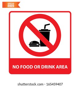 Vector: No food or drink area sign. Eps10.