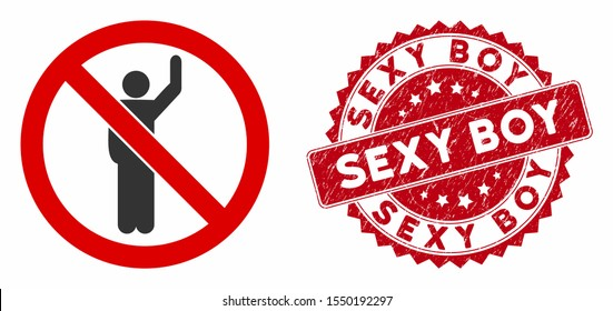 Vector no hitchhike icon and grunge round stamp seal with Sexy Boy phrase. Flat no hitchhike icon is isolated on a white background. Sexy Boy stamp seal uses red color and grunged texture.