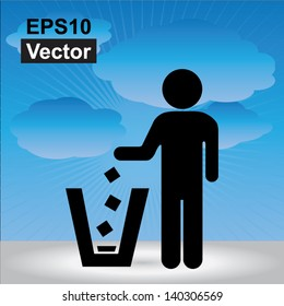 Vector : No Littering, Please Use A Trash Can or Please Keep Area Clean Concept Present By No Littering Sign in Blue Sky Background