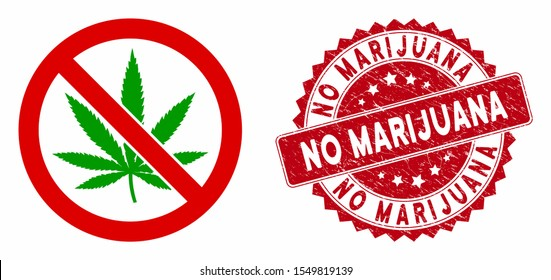 Vector no marijuana icon and grunge round stamp seal with No Marijuana text. Flat no marijuana icon is isolated on a white background. No Marijuana stamp seal uses red color and grunge surface.