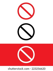Vector 'No' sign set in color, black and reverse
