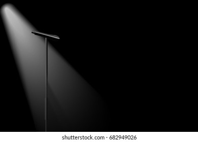 vector no singer, spotlight silhouette microphone on stage, concept is lack of important person