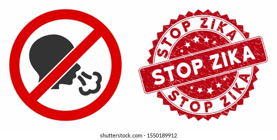 Vector no sneeze icon and corroded round stamp seal with Stop Zika text. Flat no sneeze icon is isolated on a white background. Stop Zika stamp seal uses red color and rubber design.