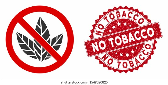 Vector no tobacco icon and rubber round stamp watermark with No Tobacco caption. Flat no tobacco icon is isolated on a white background. No Tobacco stamp seal uses red color and rubber design.
