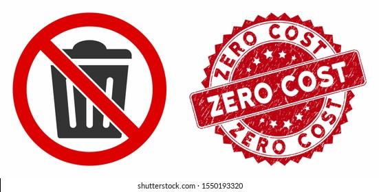 Vector no trash can icon and grunge round stamp seal with Zero Cost text. Flat no trash can icon is isolated on a white background. Zero Cost seal uses red color and dirty design.
