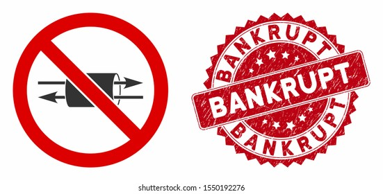 Vector no VPN icon and corroded round stamp watermark with Bankrupt text. Flat no VPN icon is isolated on a white background. Bankrupt stamp uses red color and rubber texture.