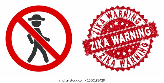 Vector no walking icon and distressed round stamp seal with Zika Warning phrase. Flat no walking icon is isolated on a white background. Zika Warning stamp seal uses red color and scratched design.