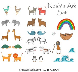Vector Noah's Ark Set with animals, Bible story for children. Set can be used for stickers, games, studying, storytelling and othed activities for children