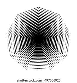 Vector Nonagon halftone geometric shapes, Dot design abstract background. The geometric shape with nine angles, basic shapes. Inspiration Geometric Design Art, Dotwork Illustration