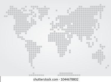 vector non-contrast large-pixel map of the world in gray tones