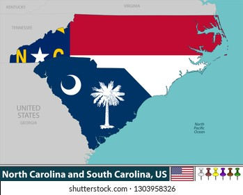 Vector of North Carolina and South Carolina states in East Coast region of United States with their flags inside borders